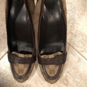 Tan and brown Gucci heels